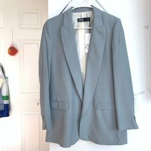 brand new Zara Linen Blazer Blue Grey